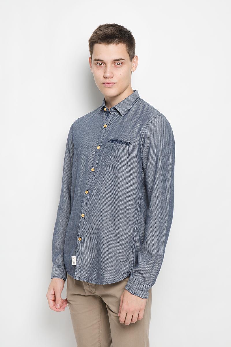 Рубашка мужская Tom Tailor Denim, цвет: темно-синий, белый. 2032325.00.12_6814. Размер S (46) рубашка tom tailor denim tom tailor denim to793emzem58