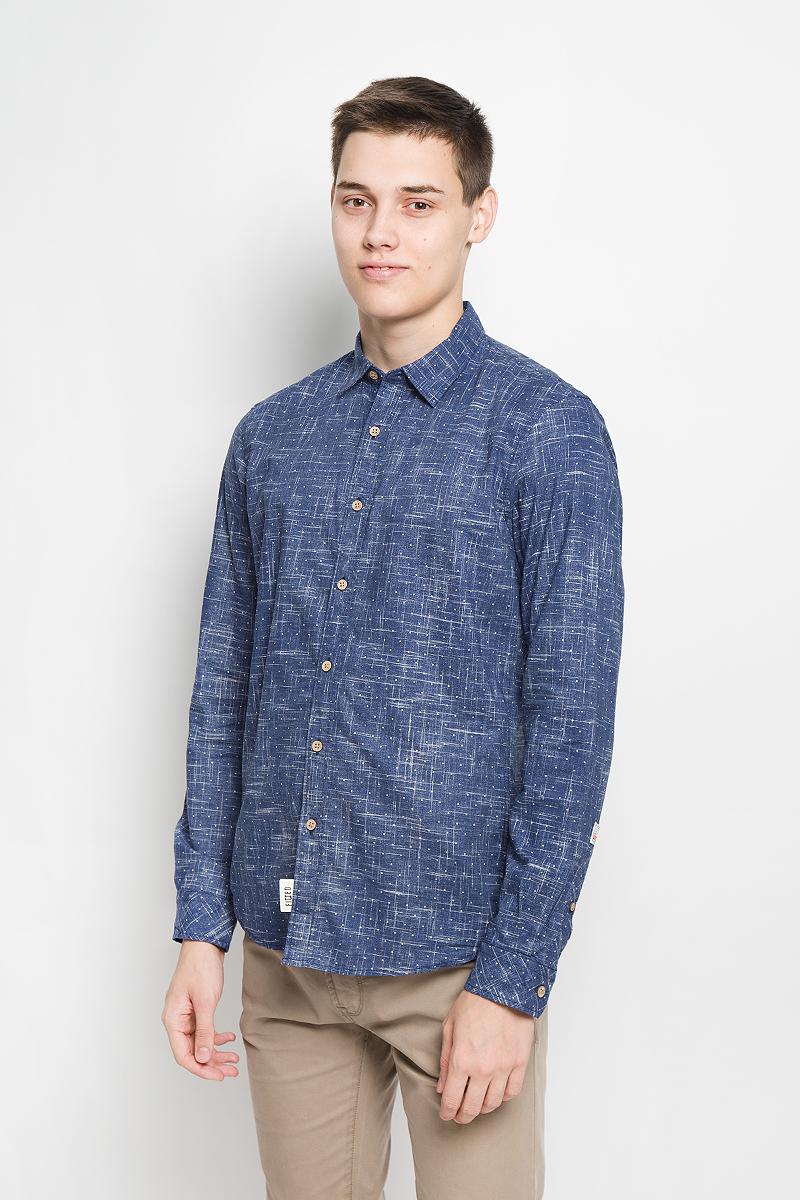 Рубашка мужская Tom Tailor Denim, цвет: темно-синий. 2032328.00.12_6758. Размер M (48) рубашка tom tailor denim 2055018 00 12 4266