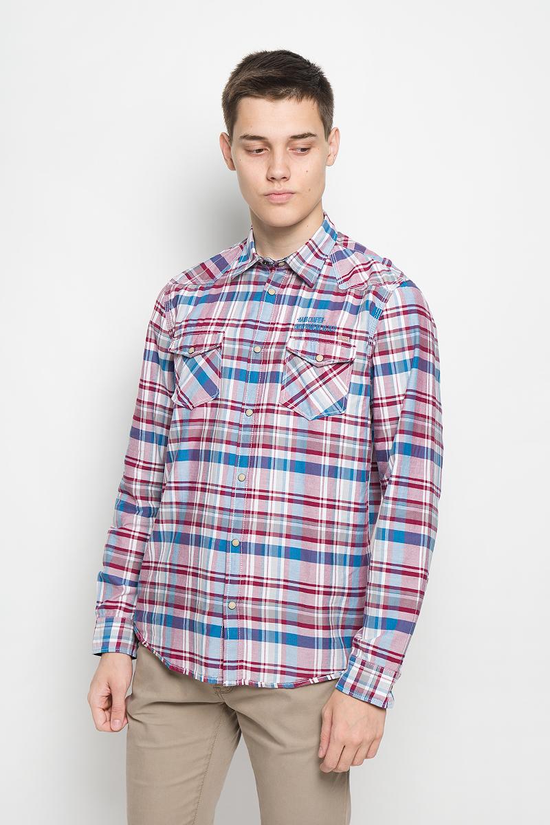 Рубашка мужская Tom Tailor, цвет: вишневый, голубой, белый. 2032054.00.10_1000. Размер M (48)