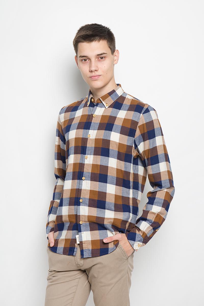 Рубашка мужская Tom Tailor Denim, цвет: коричневый, темно-синий, молочный. 2032323.00.12_8607. Размер M (48) платье tom tailor denim 5019774 00 71 6593