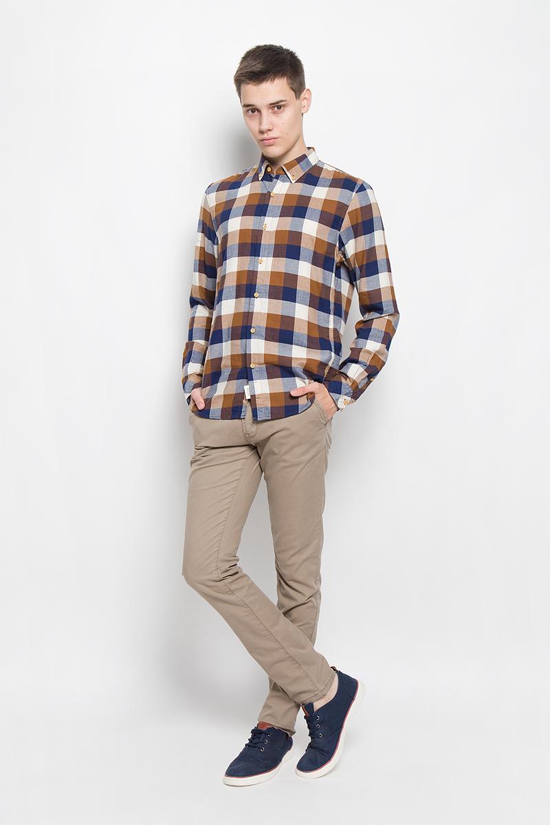 Рубашка мужская Tom Tailor Denim, цвет: коричневый, темно-синий, молочный. 2032323.00.12_8607. Размер S (46) блузка женская tom tailor denim цвет белый темно синий 2032916 09 71 8005 размер m 46