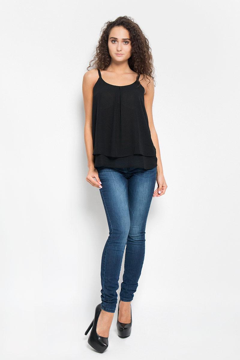 Блузка женская Tom Tailor, цвет: черный. 2031927.00.75_2999. Размер 36 (42)2031927.00.75_2999Легкая очаровательная женская блуза Tom Tailor, выполненная из 100% полиэстера, подчеркнет ваш уникальный стиль и поможет создать оригинальный женственный образ.Модная блузка на бретельках с круглой горловиной выполнена в виде трапеции. Модель оформлена в лаконичном стиле, что придает ей большей элегантности. Такая блузка будет дарить вам комфорт в течение всего дня и послужит замечательным дополнением к вашему гардеробу.