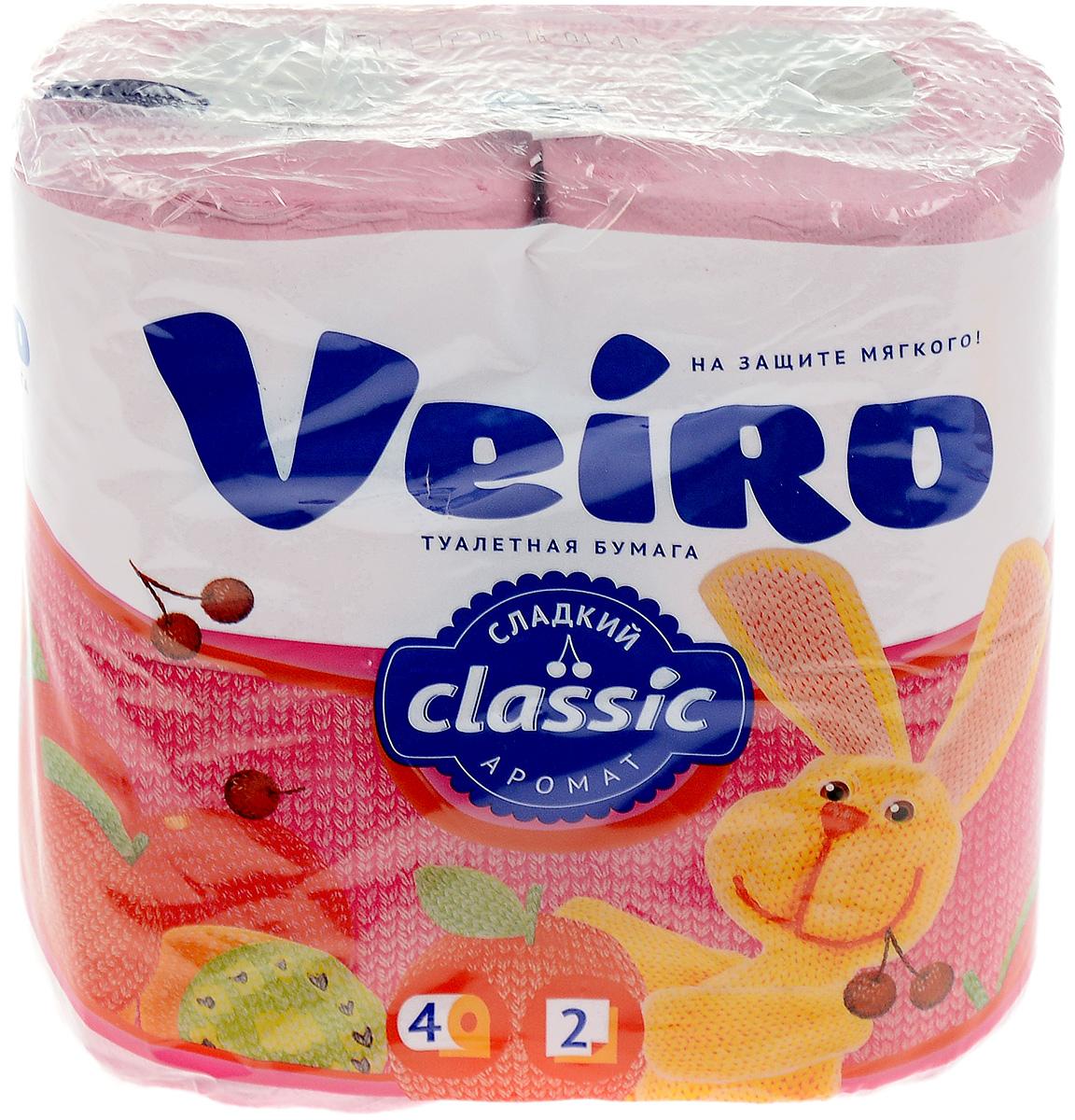 Бумага туалетная Veiro Classic, двухслойная, цвет: розовый, 4 рулона5C24р_розовыйТуалетная бумага Veiro Classic, выполненная из натуральной целлюлозы, обеспечивает превосходный комфорт и ощущение чистоты и свежести. Необыкновенно мягкая, но в тоже время прочная, бумага не расслаивается и отрывается строго по линии перфорации, не вызывает аллергии и раздражения. Двухслойные листы имеют рисунок с перфорацией.Количество слоев: 2. Количество листов: 140 шт. Размер листа: 12,5 х 9,5 см. Длина намотки: 17,5 м. Состав: 100% целлюлоза.
