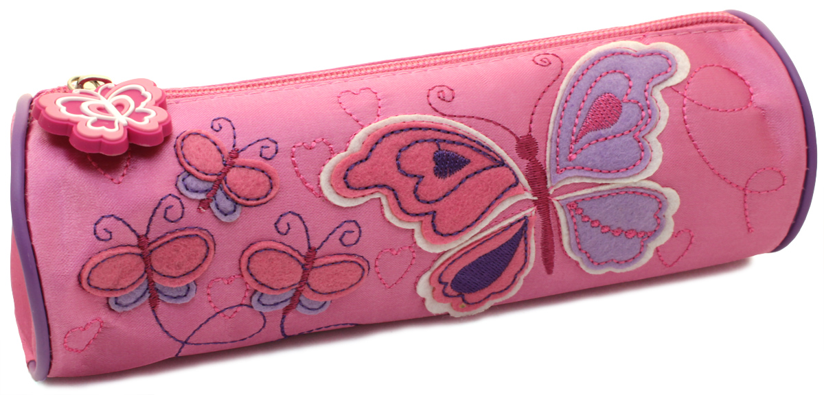 Феникс+ Пенал Бабочки цвет розовый30340Пенал Феникс+ Бабочки станет не только практичным, но и стильным школьным аксессуаром для любого школьника. Пенал в форме цилиндра выполнен из прочного атласа и состоит из одного вместительного отделения, закрывающегося на застежку-молнию. Язычок на застежке-молнии выполнен в виде бабочки. Пенал оформлен аппликациями в виде бабочек.Такой пенал станет незаменимым помощником для школьника, с ним ручки и карандаши всегда будут под рукой и больше не потеряются.