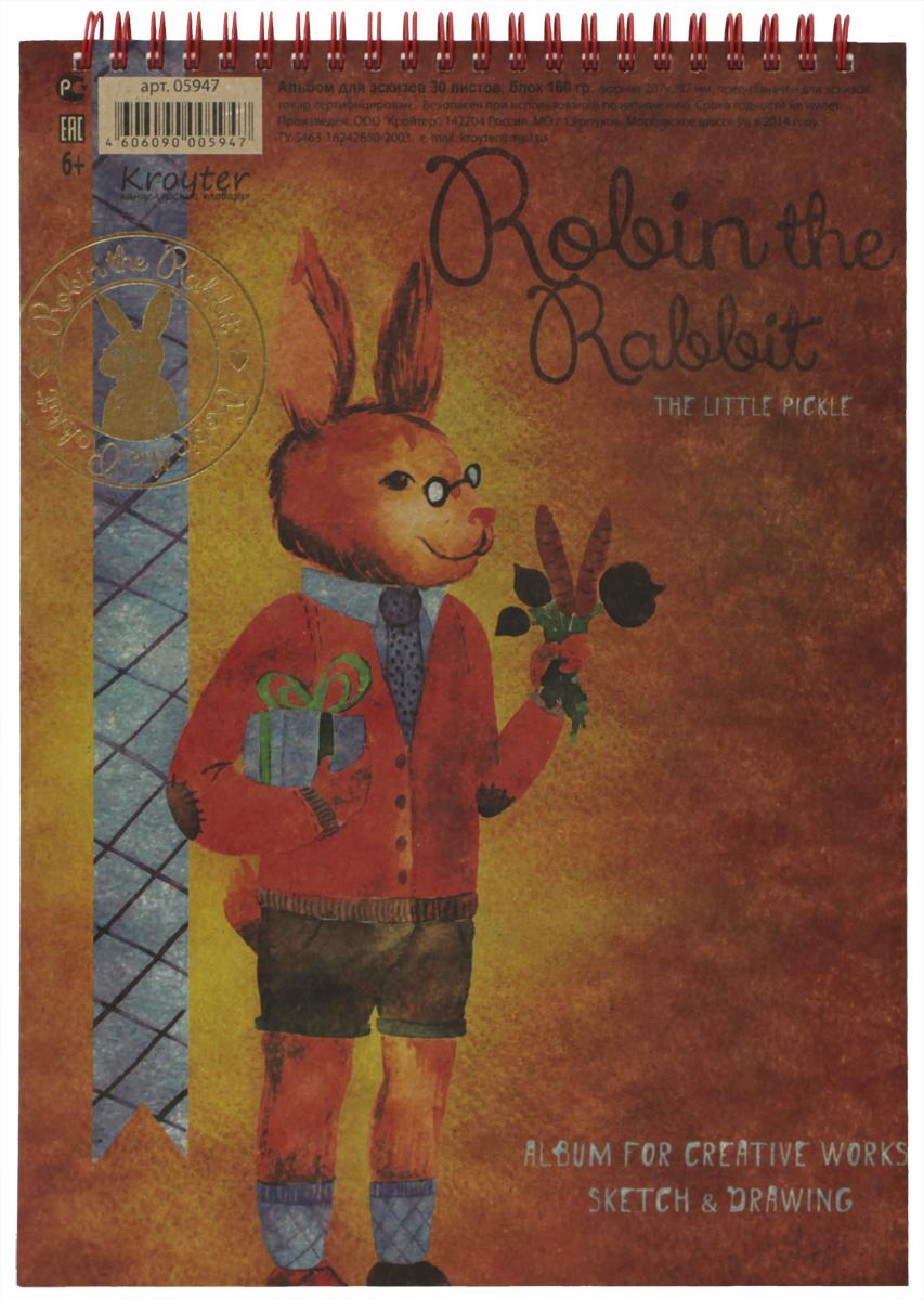 Kroyter Альбом для эскизов Робин 30 листов05947Альбом для эскизов Kroyter Робин изготовлен из 30 листов белоснежной бумаги с обложкой из крафт-картона, имеющей стильный авторский дизайн. Крепление двойной евроспиралью позволяет сохранять листы блока без его разрушения. Предназначен для рисования карандашами, ручками, фломастерами, тушью. Возможно использование всех видов водорастворимых красок и техники по сухому.
