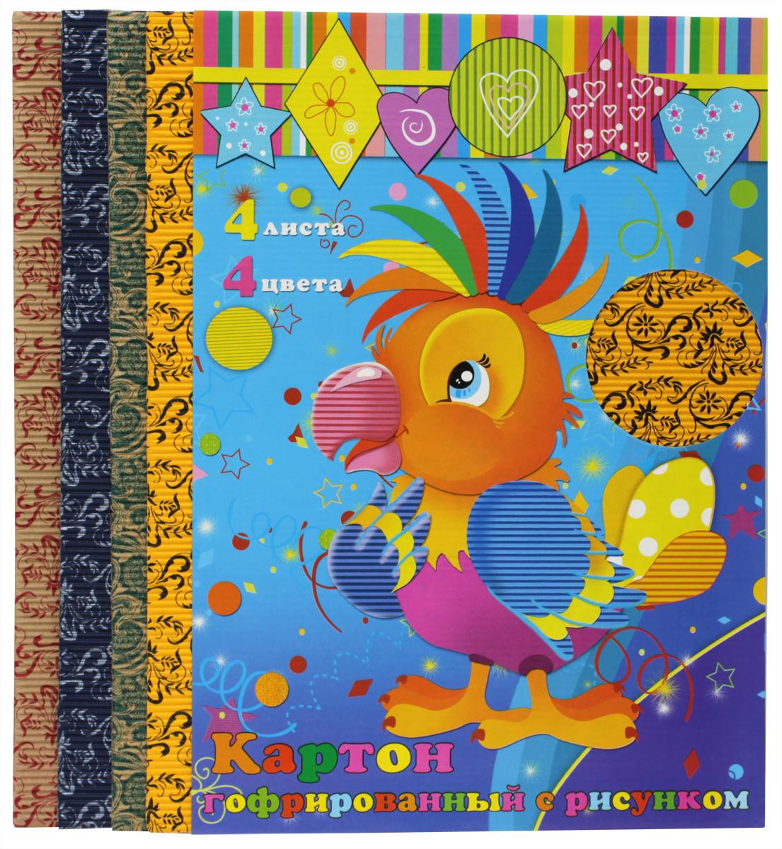 Феникс+ Гофрированный цветной картон с рисунком 4 листа фетр цветной с рисунком слоники 4 листа 4 цвета с3645 02