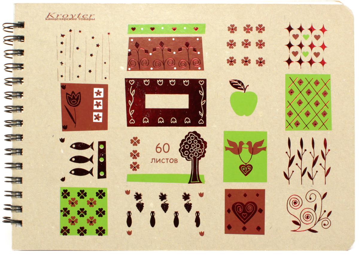 Kroyter Блокнот Эко 60 листов записная книжка а5 14 2 21см 96л клетка kairui paris retro твердая обложка на резинке