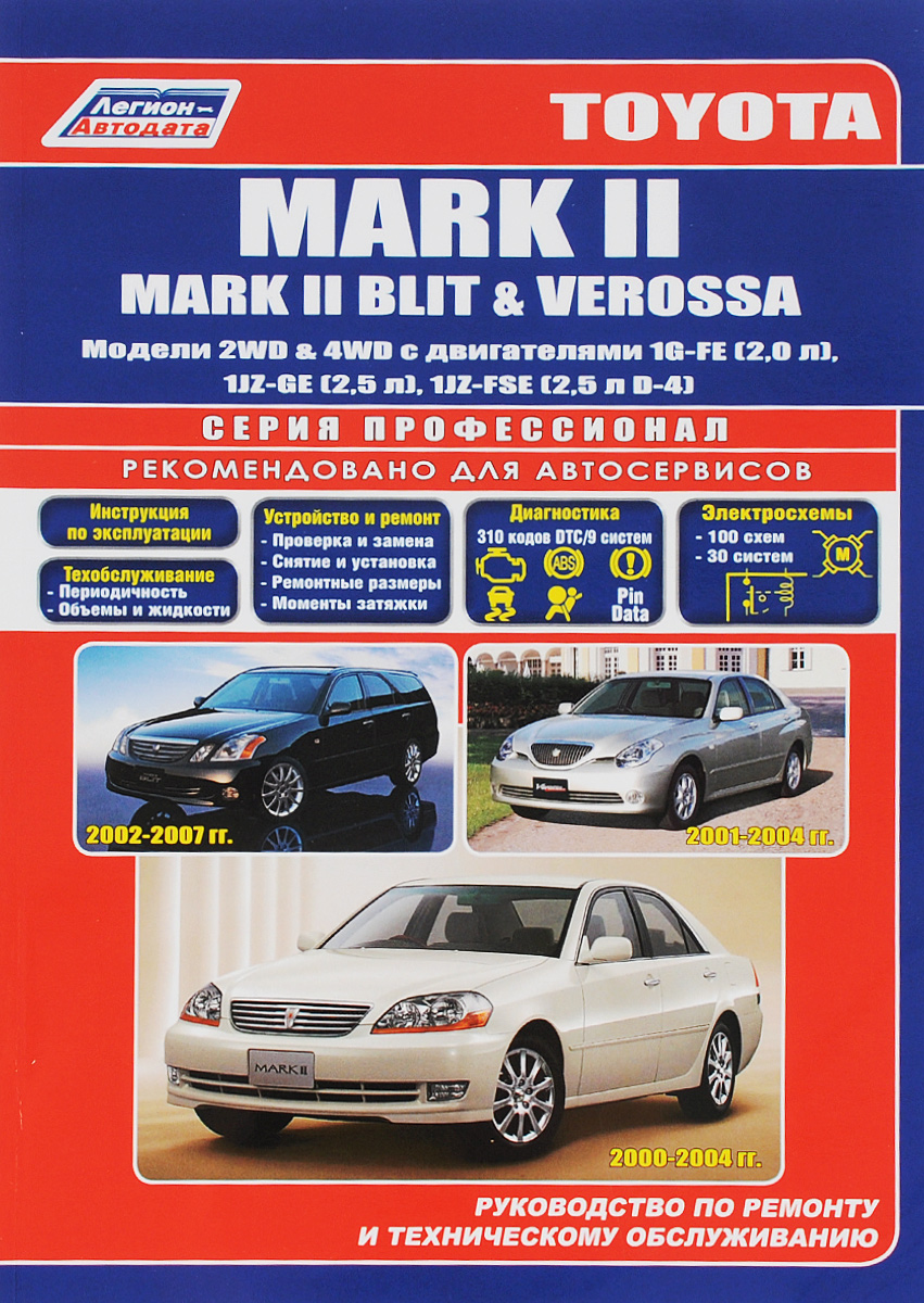 Toyota Mark II / Mark II Blit / Verossa. Руководство по ремонту и техническому обслуживанию автомобили toyota 4 runner руководство по эксплуатации ремонту и техническому обслуживанию