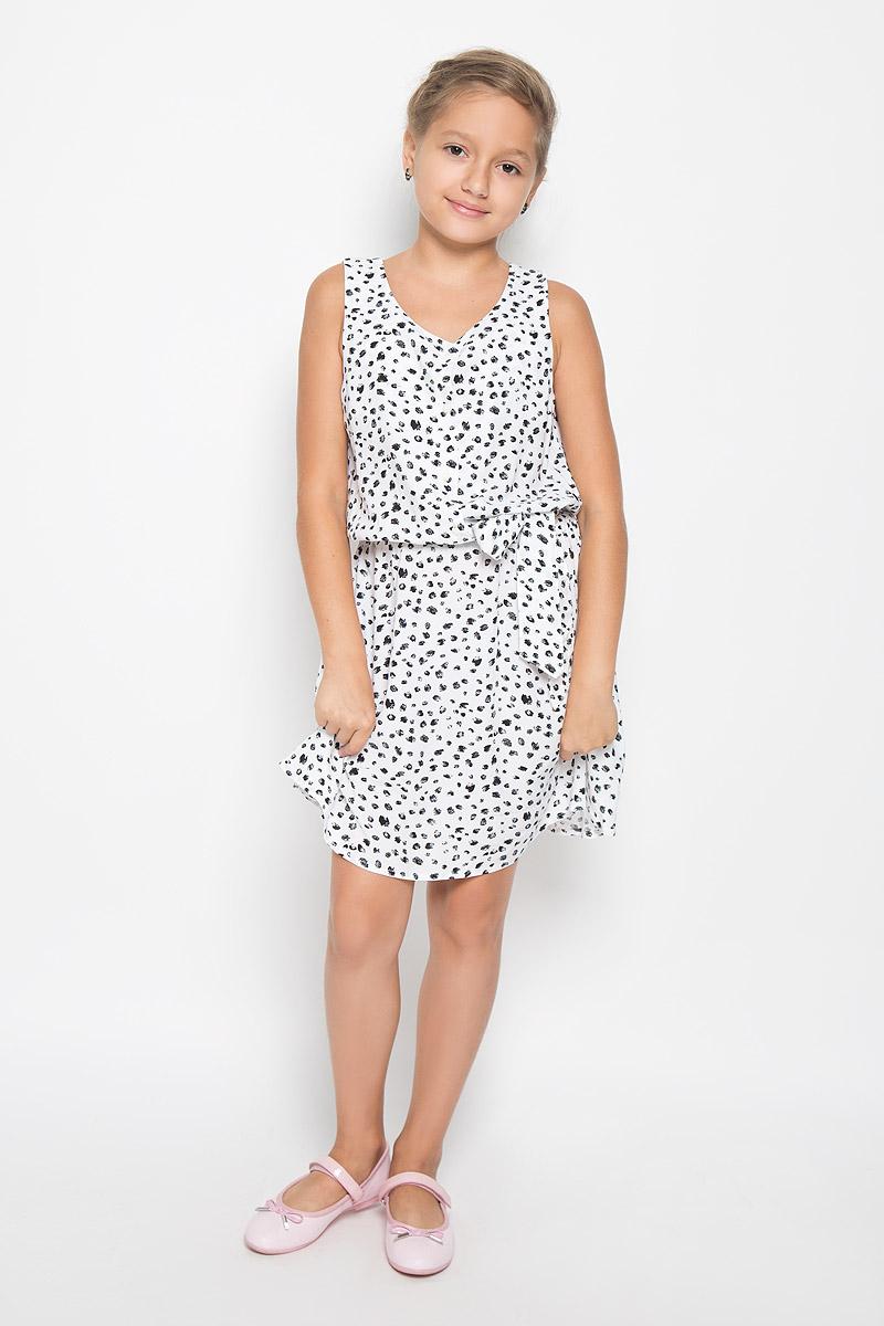 Платье для девочки Finn Flare Kids, цвет: белый. KS16-71047J. Размер 134, 8-9 лет детские платья и сарафаны finn flare kids платье ks17 71011