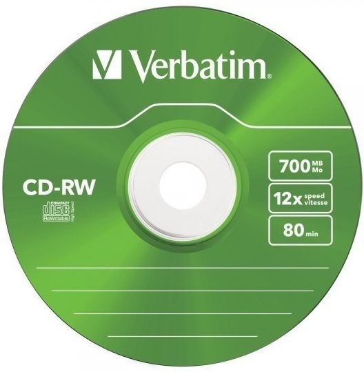 Диск CD-RW Verbatim 700Mb 12x Slim case, 5 шт (43167) колор маск 500