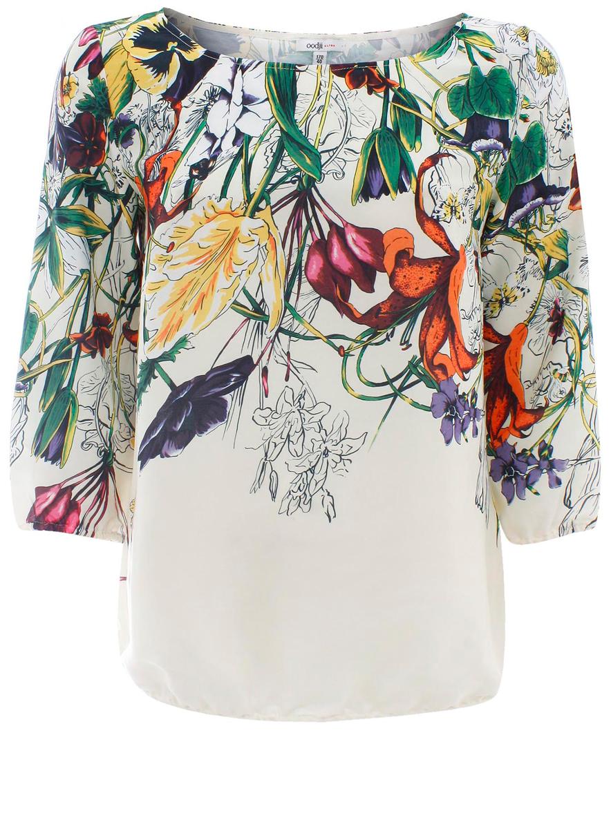 Блузка женская oodji Collection, цвет: молочный, зеленый. 21404007-3/32735/1219F. Размер 36 (42-170)