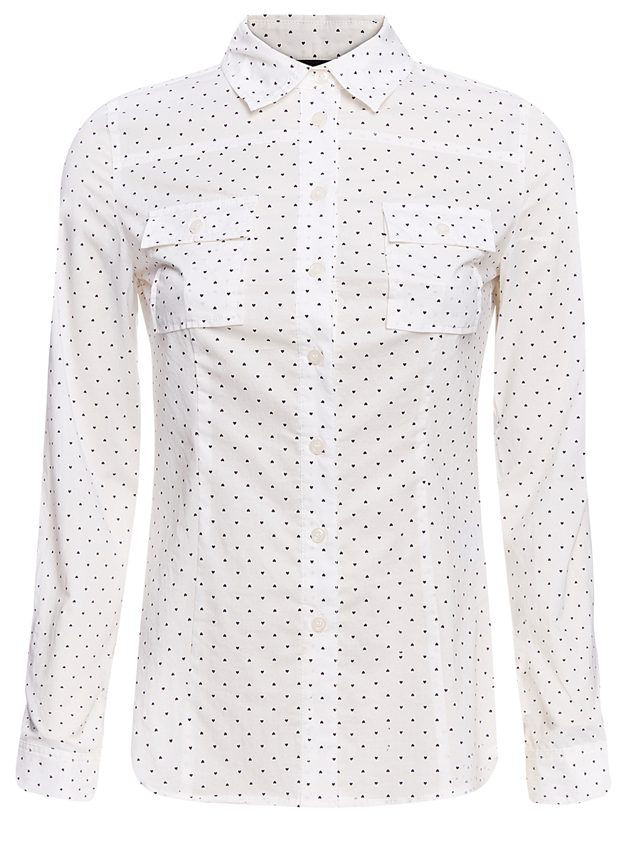 Рубашка женская oodji Ultra, цвет: белый, черный. 11442121-5/43609/1229Q. Размер XXS (40)