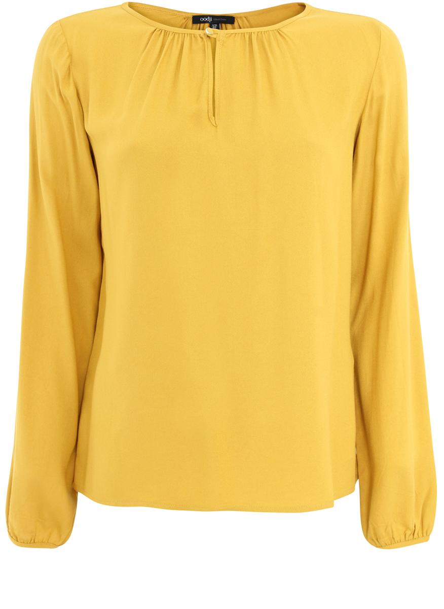 Блузка женская oodji Collection, цвет: горчичный. 21400321-4/35610/5700N. Размер 42-170 (48-170) блузка женская oodji collection цвет бледно розовый 21406034 1 42083 4000n размер 42 48 170