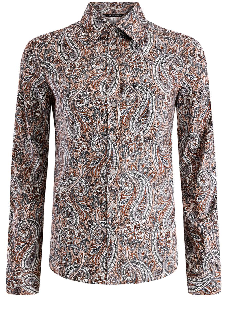 Рубашка женская oodji Collection, цвет: бирюза, оранжевый. 21402212/14885/7355E. Размер 46-170 (52-170)
