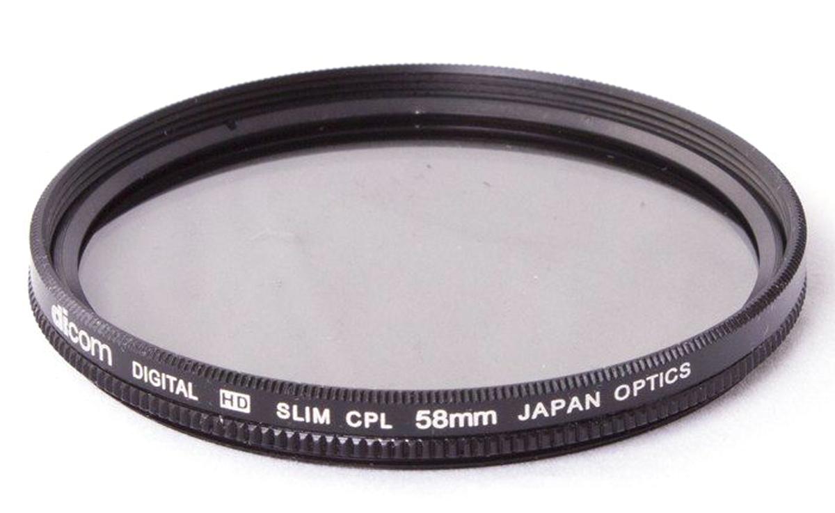 Dicom D-CPLS58 CPL Slim тонкооправный фильтр (58 мм)D-CPLS58Фильтр Dicom D-CPLS58 CPL Slim в металлической ультратонкой оправе толщиной 5,45 мм. Удаляет нежелательные блики и отражения от неметаллических поверхностей (стекло, вода). Повышает насыщенность цвета, позволяя создавать глубокие, объемные кадры. Двухкомпонентная конструкция.