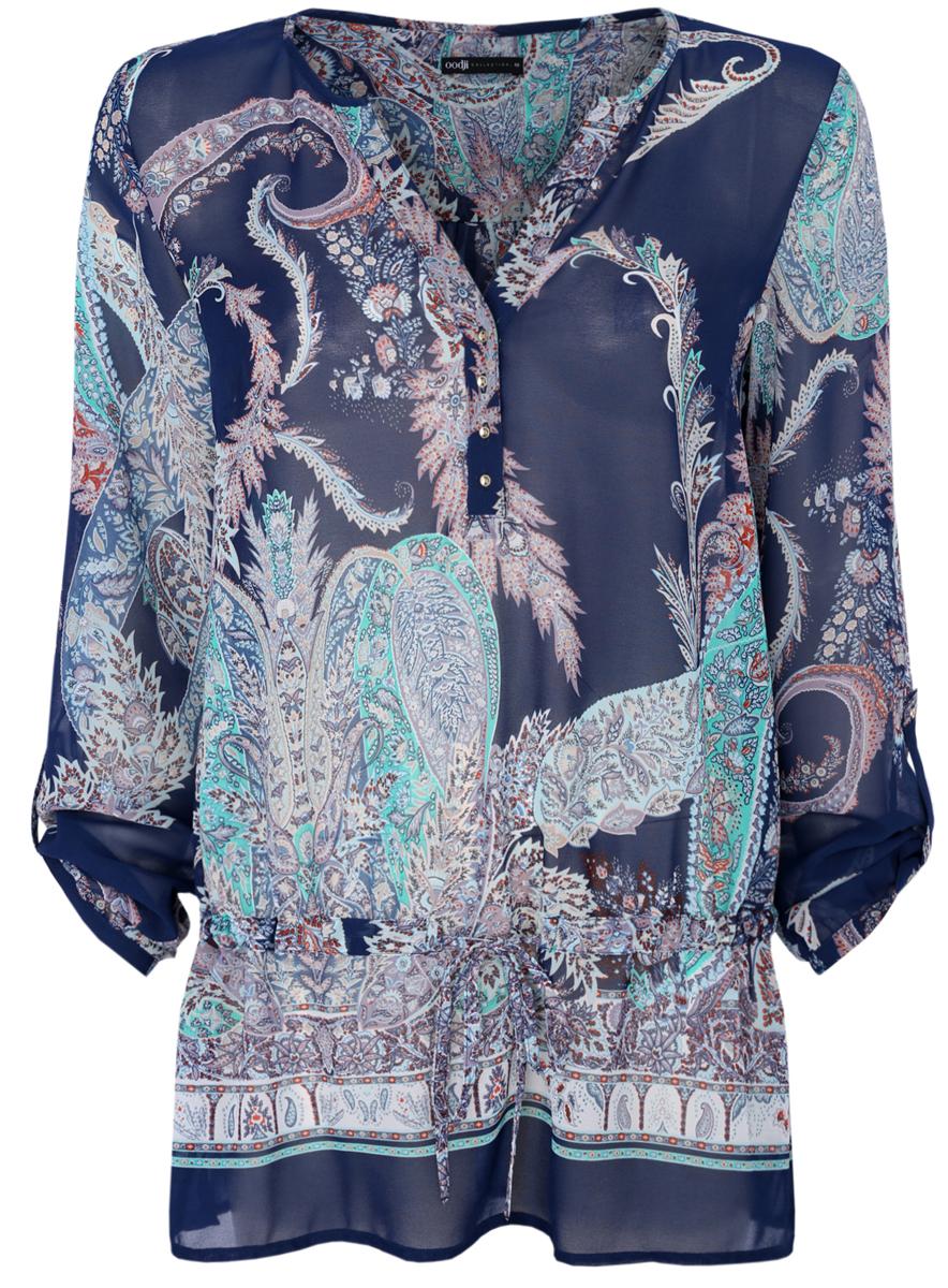 Купить Блузка женская oodji Collection, цвет: темно-синий. 21401246/17358/7973E. Размер 38 (44-170)