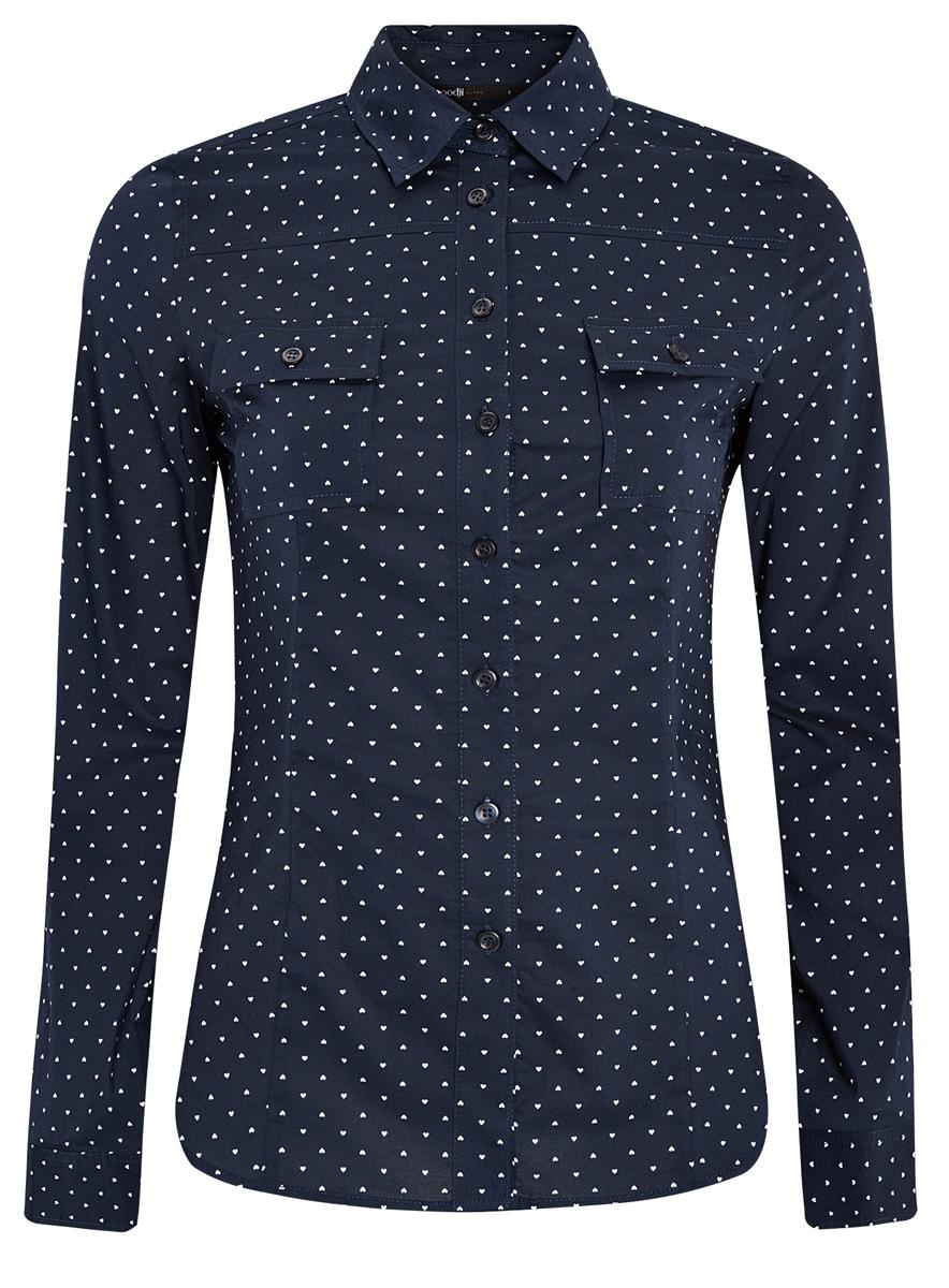 Рубашка женская oodji Ultra, цвет: темно-синий, белый. 11442121-5/43609/7912Q. Размер XXS (40)