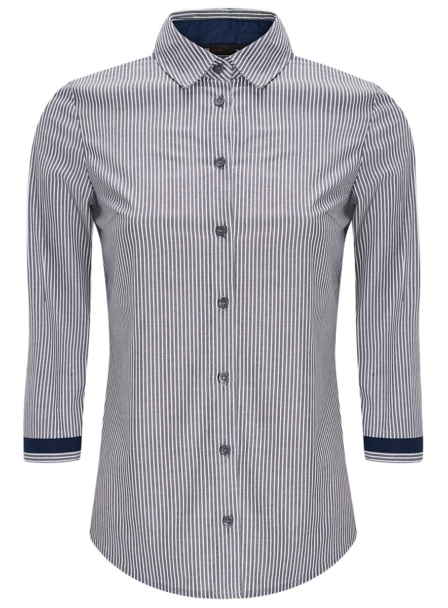 Купить Рубашка женская oodji Ultra, цвет: темно-синий, белый. 11403201-1/43346/7910S. Размер 34-170 (40-170)