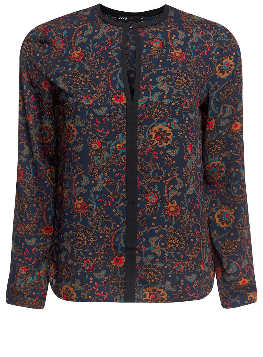 Блузка женская oodji Ultra, цвет: темно-синий. 11411059/43414/7945E. Размер 40 (46-170) блуза oodji oodji oo001ewnwa96