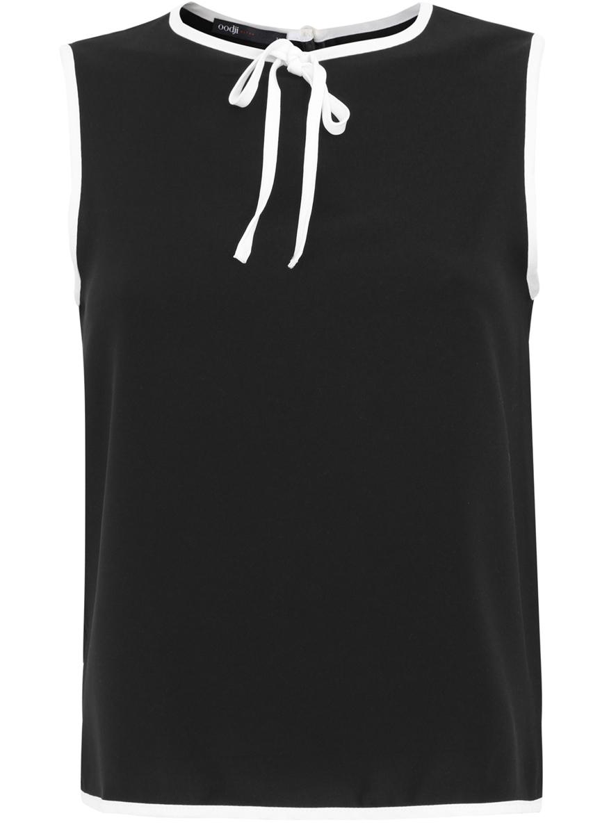 Блузка женская oodji Ultra, цвет: черный, белый. 11411047/42405/2912B. Размер 34-170 (40-170)