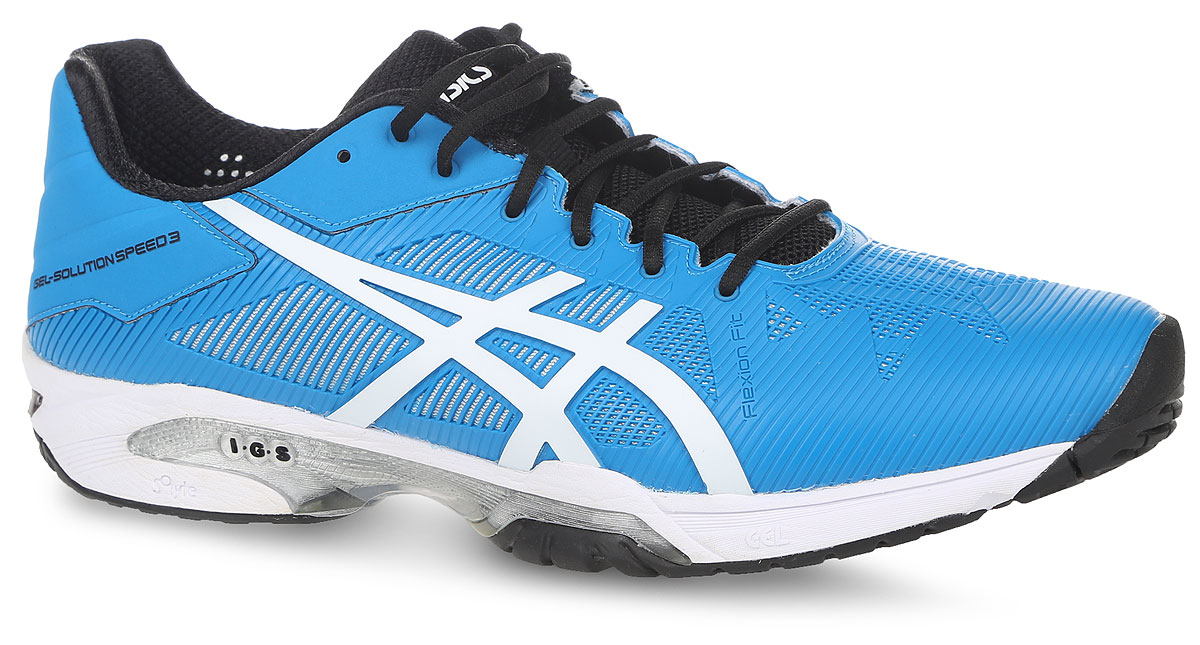 Кроссовки мужские Asics Gel-Solution Speed 3, цвет: голубой. E600N-4301. Размер 10H (43)E600N-4301Кроссовки Asics для активного отдыха. Модель выполнена из полимерных материалов со вставками из дышащего текстиля, что обеспечивают отличную вентиляцию. Классическая шнуровка надежно зафиксирует изделие на ноге.Удобные кроссовки - незаменимая вещь в гардеробе каждого спортсмена.