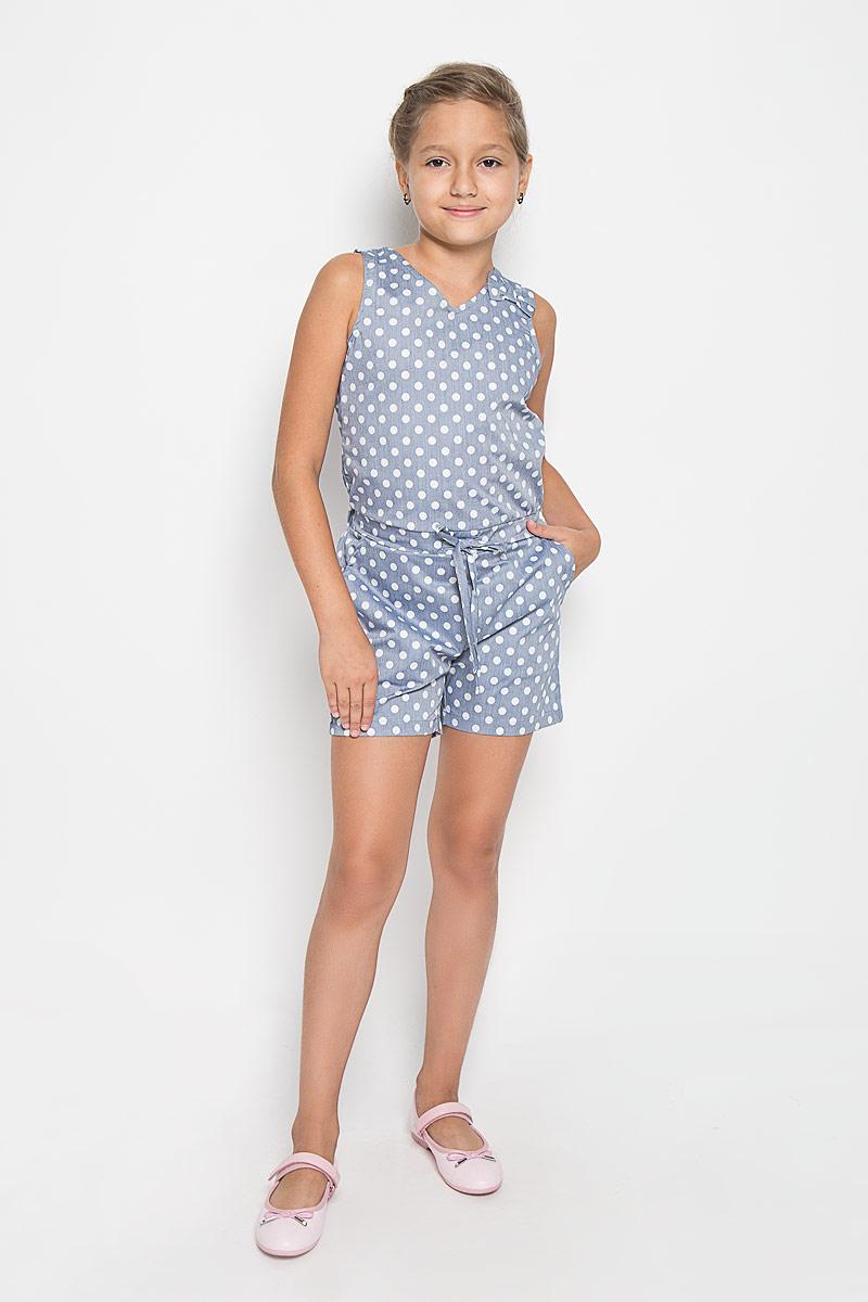 Комбинезон для девочки Luminoso, цвет: серо-голубой, белый. 195843. Размер 134, 9 лет195843Комбинезон для девочки Luminoso станет отличным дополнением к гардеробу юной модницы. Он выполнен из эластичного хлопка с добавлением полиэстера, мягкий и приятный на ощупь, не сковывает движения и хорошо пропускает воздух, обеспечивая наибольший комфорт. Комбинезон с V-образным вырезом горловины имеет завязки по спинке. На талии изделие дополнено вшитой широкой резинкой и затягивающимся шнурком. Спереди предусмотрены два втачных кармана. Модель оформлена принтом в горох, украшена бантиком. Современный дизайн и расцветка делают этот комбинезон модным и стильным предметом детской одежды. В нем ваша принцесса будет чувствовать себя уютно и комфортно и всегда будет в центре внимания!