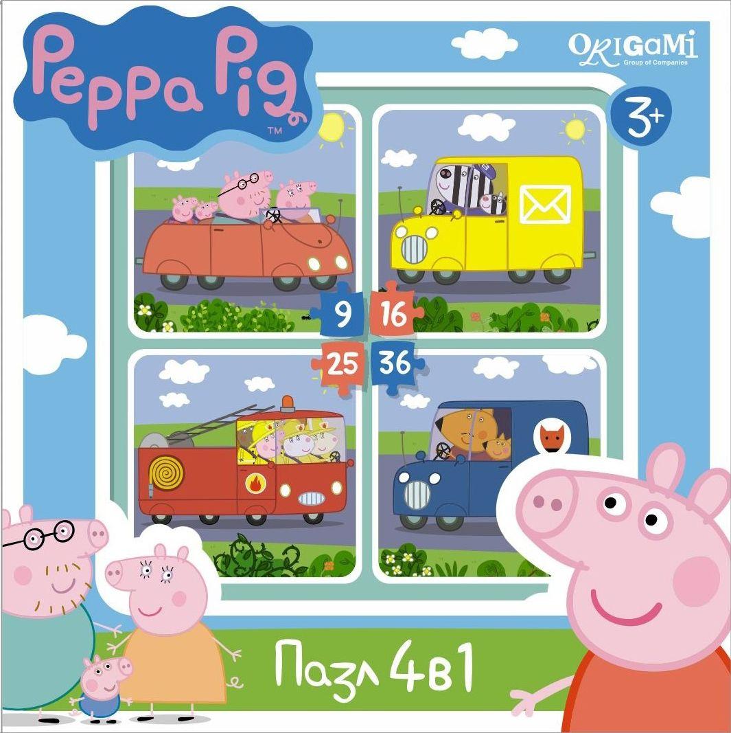Оригами Пазл для малышей Peppa Pig 4 в 1 Транспорт пазл origami 01569 peppa pig 24эл
