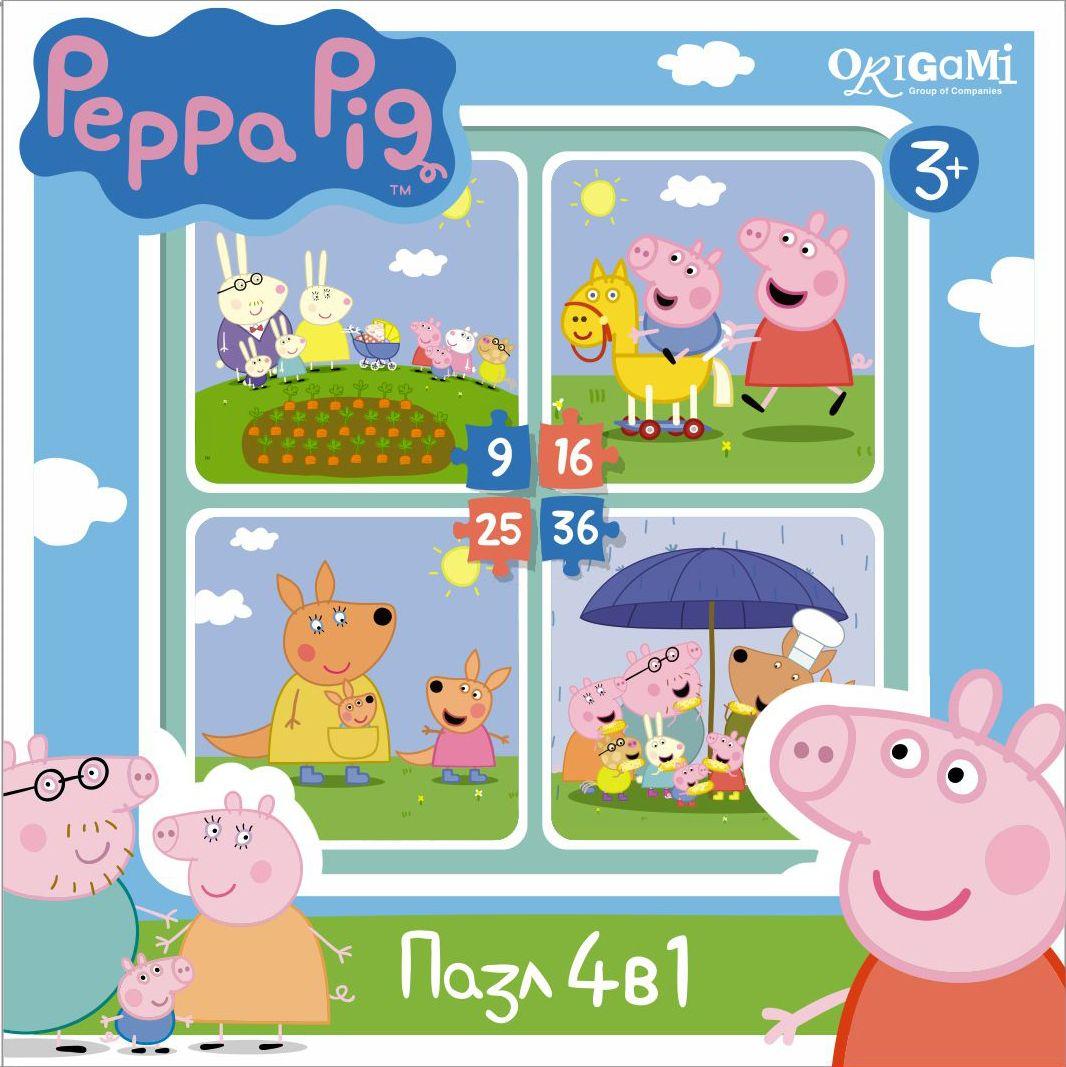 Оригами Пазл для малышей Peppa Pig 4 в 1 На отдыхе