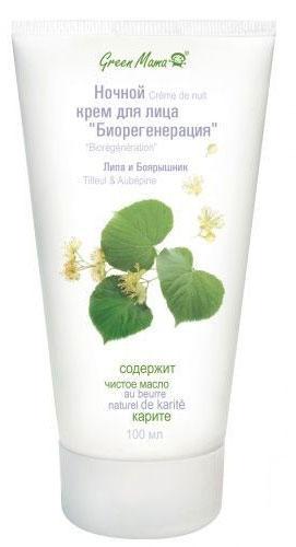 Ночной крем Green Mama для лица Биорегенерация с экстрактом липы и боярышника, для зрелой чувствительной кожи, 100 мл ночной крем для лица green mama чистая кожа для чувствительной кожи смешанного типа 100 мл