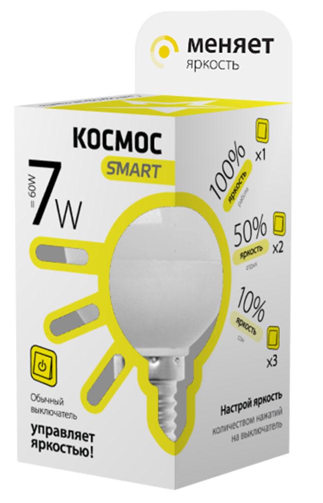 Лампа светодиодная Космос Smart, 3 уровня яркости, регулируется выключателем, шар, 220V, теплый свет, цоколь Е14, 7WLksmLEDSD7wGL45E1430Умная лампа КОСМОС SMART имеет 3 уровня яркости: 100%, 50% и 10% и интенсивность освещения меняется обычным выключателем без использования светорегулятора или диммера, позволяя создавать выбранную атмосферу комфортного освещения просто включив и выключив свет.Частые включения и выключения не влияют на срок службы лампы, за счет регулировки яркости снижается потребление энергии. Умный модуль управляющий светом производится по лицензии Philips, что гарантирует стабильный световой поток в течение всего срока службы.Благодаря алюминиевому цилиндрическому радиатору достигается высокий уровень надежности и срок службы лампы. Интеллектуальный драйвер обеспечивает отсутствие пульсации, мерцания, перегрева и скачков напряжения. Матовый рассеиватель обеспечивает мягкое и равномерное распределение света, что повышает зрительный комфорт и снижает утомляемость глаз. Широкий угол рассеивания, высокий индекс цветопередачи планарных SMD светодиодов - это наиболее благоприятная зона затенения, яркость и эффективность, высокая контрастность, предметы в освещении получают естественные цвета и оттенки.Умная лампа повторяет форму и размеры стандартных ламп накаливания и предполагает использование в любых светильниках, любых типах потолков, в различных помещениях, в том числе детских комнатах. При производстве используются высокотехнологичные современные материалы, что гарантирует прочность, надежность и безопасность использования, в том числе и экологическую, так как не содержит компонентов, вредных для здоровья человека и окружающей среды и не нуждаются в утилизации. Лампа не нагревается, не перегружает сеть при пуске, устойчива к механическим воздействиям, вибрациям, перепадам температур.Инновационная упаковка содержит полную информацию о модели; инструкция по эксплуатации и гарантийный талон - в комплекте.