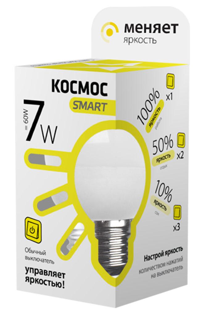 Лампа светодиодная Космос Smart, 3 уровня яркости, регулируется выключателем, шар, 220V, теплый свет, цоколь Е27, 7WLksmLEDSD7wGL45E2730Умная лампа КОСМОС SMART имеет 3 уровня яркости: 100%, 50% и 10% и интенсивность освещения меняется обычным выключателем без использования светорегулятора или диммера, позволяя создавать выбранную атмосферу комфортного освещения просто включив и выключив свет.Частые включения и выключения не влияют на срок службы лампы, за счет регулировки яркости снижается потребление энергии. Умный модуль управляющий светом производится по лицензии Philips, что гарантирует стабильный световой поток в течение всего срока службы.Благодаря алюминиевому цилиндрическому радиатору достигается высокий уровень надежности и срок службы лампы. Интеллектуальный драйвер обеспечивает отсутствие пульсации, мерцания, перегрева и скачков напряжения. Матовый рассеиватель обеспечивает мягкое и равномерное распределение света, что повышает зрительный комфорт и снижает утомляемость глаз. Широкий угол рассеивания, высокий индекс цветопередачи планарных SMD светодиодов - это наиболее благоприятная зона затенения, яркость и эффективность, высокая контрастность, предметы в освещении получают естественные цвета и оттенки.Умная лампа повторяет форму и размеры стандартных ламп накаливания и предполагает использование в любых светильниках, любых типах потолков, в различных помещениях, в том числе детских комнатах. При производстве используются высокотехнологичные современные материалы, что гарантирует прочность, надежность и безопасность использования, в том числе и экологическую, так как не содержит компонентов, вредных для здоровья человека и окружающей среды и не нуждаются в утилизации. Лампа не нагревается, не перегружает сеть при пуске, устойчива к механическим воздействиям, вибрациям, перепадам температур.Инновационная упаковка содержит полную информацию о модели; инструкция по эксплуатации и гарантийный талон - в комплекте.
