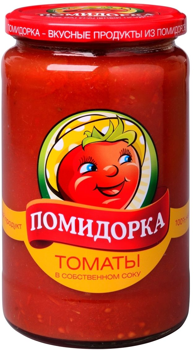 Помидорка Томаты в соку, 720 мл3065Томаты в собственном соку используются при приготовлении салатов, соусов, супов.