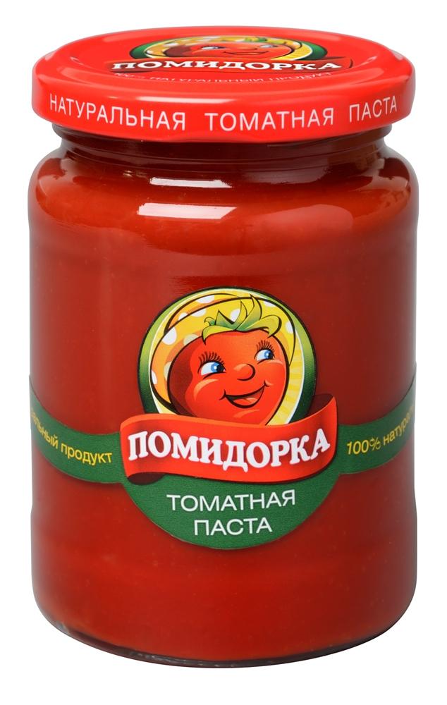 Помидорка томатная паста, 270 г2648Томатная паста Помидорка - гармоничный продукт с оригинальным, свежим вкусом, насыщенным цветом и ароматом.В ней отсутствуют искусственные пищевые добавки - это полностью натуральный продукт! Томатная паста Помидорка очень густая (содержит более 25% сухих веществ) и приготовлена только из помидоров.