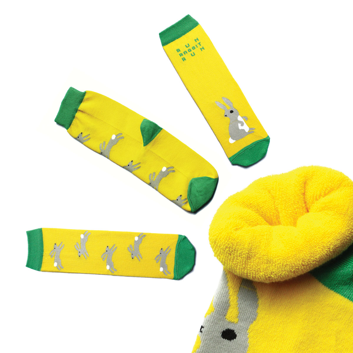 Носки женские Big Bang Socks, цвет: желтый. n223. Размер 35-39n223Яркие махровые носки с несимметричным принтом выполнены из комбинации хлопка, полиамида и эластана, оформлены надписью Run, Rabbit, Run. Модель с удлиненным паголенком и нетугой резинкой.