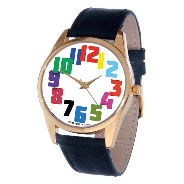 Часы Mitya Veselkov Цветные числа. Gold-46