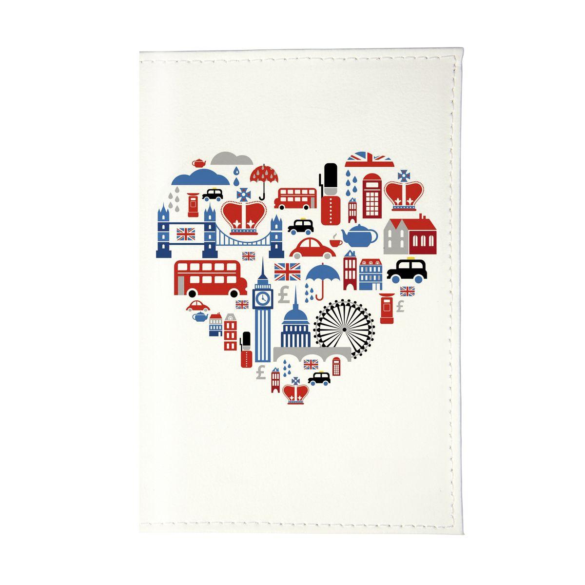 Обложка для паспорта Сердце Лондона Арт. OZAM190ПВХ (поливинилхлорид)