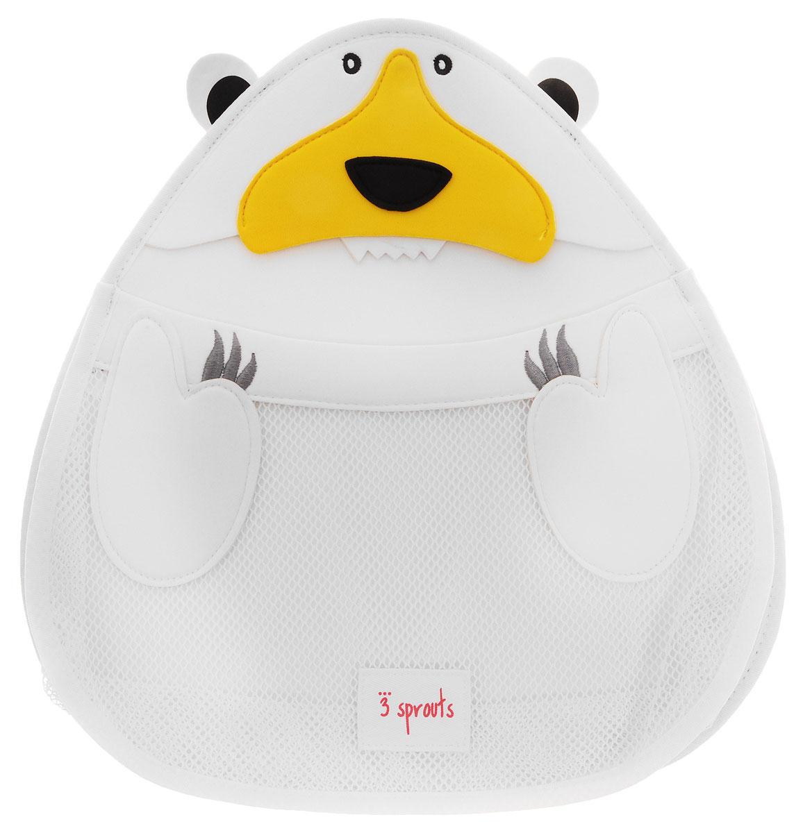 3 Sprouts Органайзер для ванной Белый мишка00012Органайзер для ванной 3 Sprouts Белый мишка идеально подойдет для хранения банных принадлежностей вашего малыша.Он изготовлен из материала, используемого для гидрокостюмов, так что все игрушки и банные принадлежности будут храниться в сухости, а также защищены от плесени. Эластичный рот косметички превращает поиск той самой игрушки в настоящую охоту!Крепится изделие на присоску.