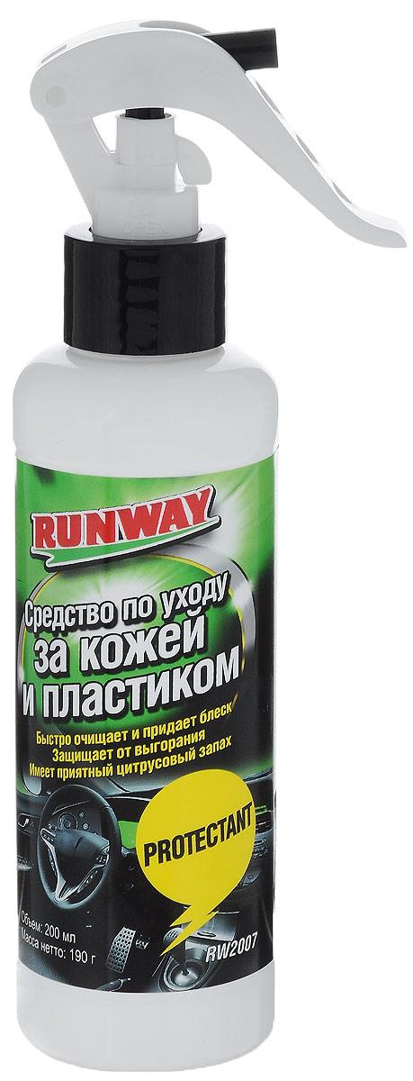 Средство для ухода за кожей и пластиком Runway, 200 млRW2007Благодаря своей уникальной формуле, средство Runway быстро очищает и придает блеск изделиям из кожи, пластика, винила и резины. Защищает изделия от выгорания, помутнения, высыхания и растрескивания. Обладает хорошими антистатическими свойствами. Имеет приятный цитрусовый запах.Товар сертифицирован.