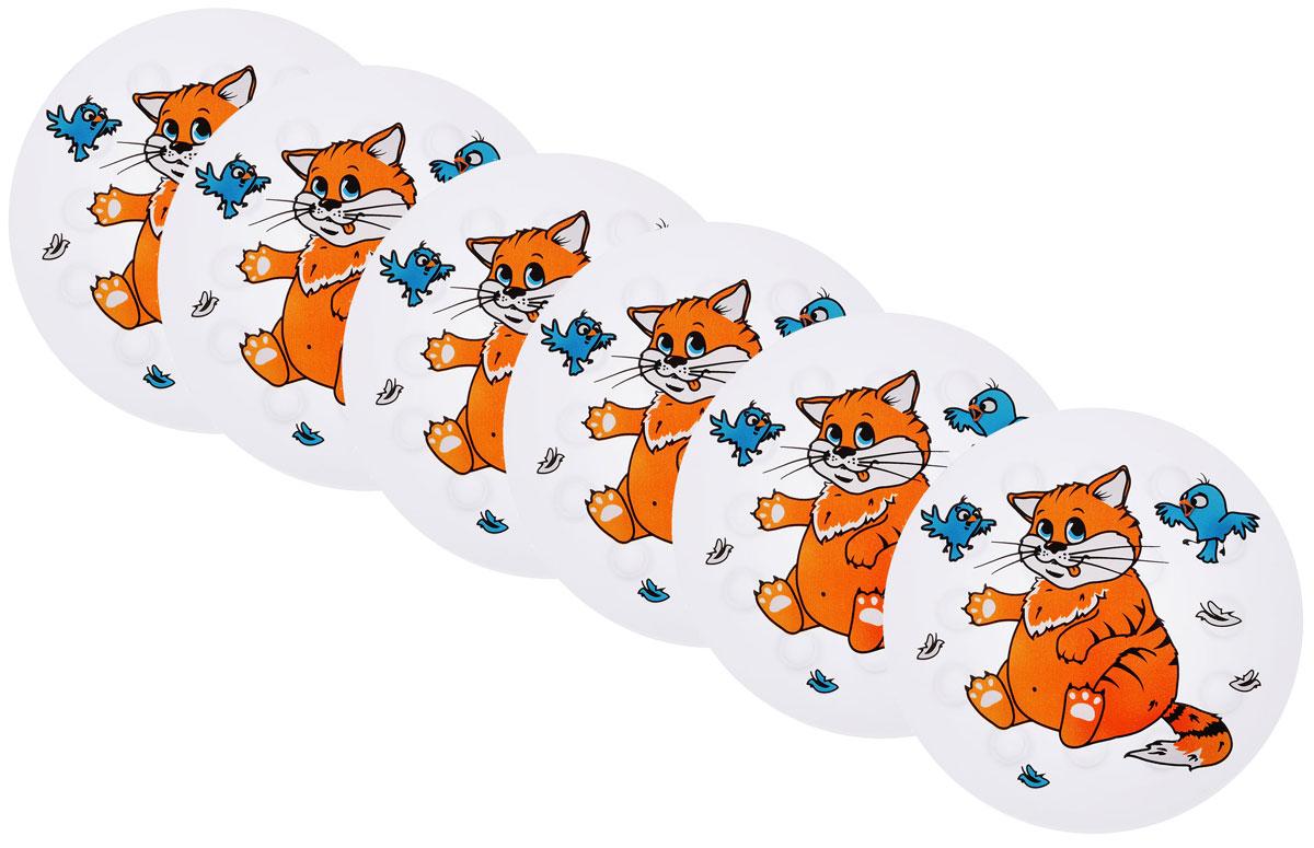 Valiant Мини-коврик для ванной комнаты Котик на присосках 6 штK6-3304Мини-коврик для ванной комнаты Valiant Котик - это модный и экономичный способ сделать вашу ванную комнату более уютной, красивой и безопасной.В наборе представлены 6 круглых мини-ковриков с изображением милого котика с птичками. Коврики прочно крепятся на любую гладкую поверхность с помощью присосок. Расположите коврик там, где вам необходимо яркое цветовое пятно и надежная противоскользящая опора - на поверхности ванной, на кафельной стене или стенке душевой кабины, на полу - как дополнение вашего коврика стандартного размера.Мини-коврики Valiant незаменимы при купании маленького ребенка: он не поскользнется и не упадет, держась за мягкую и приятную на ощупь рифленую поверхность коврика.Рекомендации по уходу: после использования тщательно смойте остатки мыла или других косметических средств с коврика.