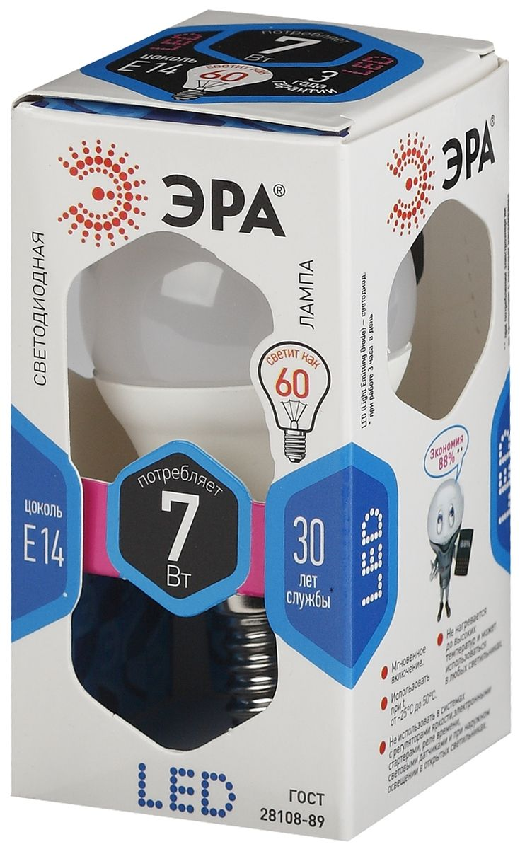 Лампа светодиодная ЭРА, цоколь E14, 170-265V, 7W, 4000К. P45-7w-840-E145055945518238Светодиодная лампа ЭРА является самым перспективным источником света. Основным преимуществом данного источника света является длительный срок службы и очень низкое энергопотребление, так, например, по сравнению с обычной лампой накаливания светодиодная лампа служит в среднем в 50 раз дольше и потребляет в 10-15 раз меньше электроэнергии. При этом светодиодная лампа практически не подвержена механическому воздействию из-за прочной конструкции и позволяет получить любой цвет светового потока, что, несомненно, расширяет возможности применения и позволяет создавать новые решения в области освещения.