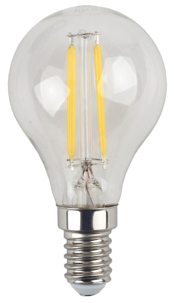 Лампа светодиодная ЭРА F-LED, цоколь E14, 170-265V, 5W, 2700К5055945528930Светодиодная лампа ЭРА F-LED является самым перспективным источником света. Основным преимуществом данного источника света является длительный срок службы и очень низкое энергопотребление, так, например, по сравнению с обычной лампой накаливания светодиодная лампа служит в среднем в 50 раз дольше и потребляет в 10-15 раз меньше электроэнергии.При этом светодиодная лампа практически не подвержена механическому воздействию из-за прочной конструкции и позволяет получить любой цвет светового потока, что, несомненно, расширяет возможности применения и позволяет создавать новые решения в области освещения. Максимально похожа на лампу накаливания, может использоваться в дизайнерских интерьерах. Угол рассеивания светового потока 360 градусов.