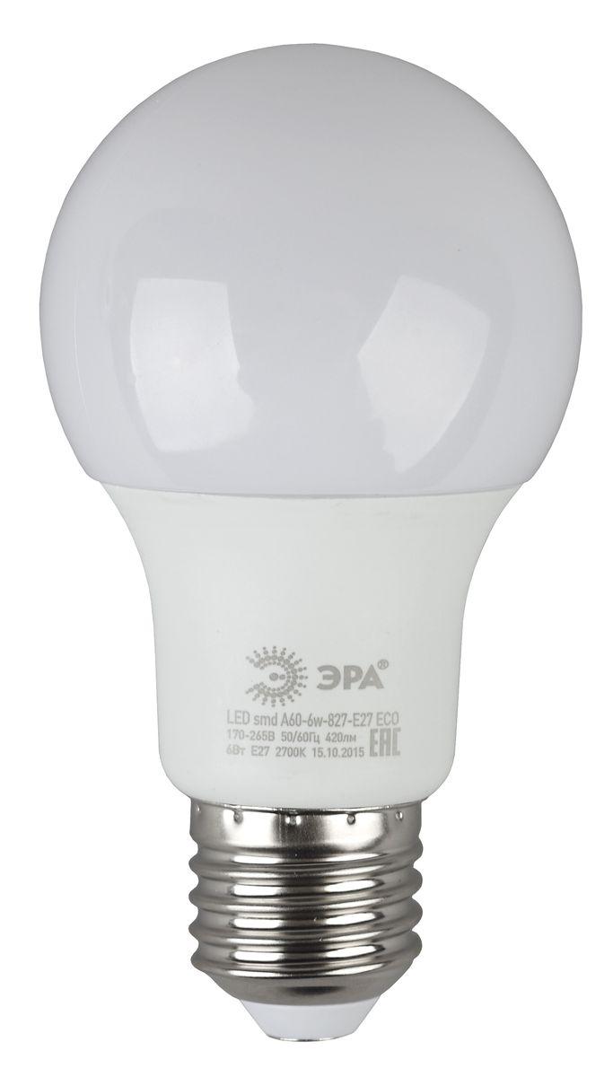 Лампа светодиодная ЭРА Eco, цоколь E27, 170-265V, 6W, 2700К5055945536478Светодиодная лампа ЭРА Eco является самым перспективным источником света. Основным преимуществом данного источника света является длительный срок службы и очень низкое энергопотребление, так, например, по сравнению с обычной лампой накаливания светодиодная лампа служит в среднем в 50 раз дольше и потребляет в 10-15 раз меньше электроэнергии. При этом светодиодная лампа практически не подвержена механическому воздействию из-за прочной конструкции и позволяет получить любой цвет светового потока, что, несомненно, расширяет возможности применения и позволяет создавать новые решения в области освещения.Серия Eco достаточна для обычного потребителя. Работа в цепи с выключателем с подсветкой не рекомендована.