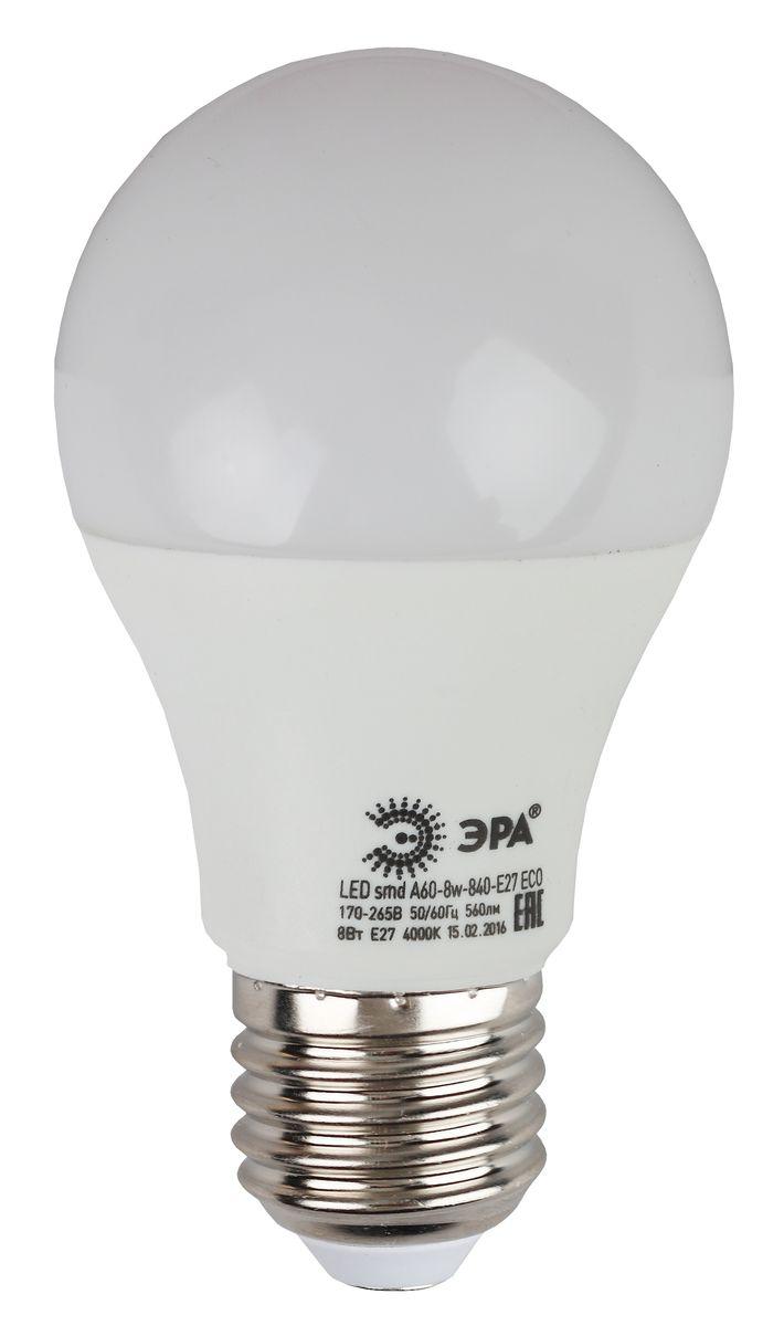 Лампа светодиодная ЭРА, цоколь E27, 170-265V, 8W, 4000К5055945536508Светодиодная лампа ЭРА является самым перспективным источником света. Основным преимуществом данного источника света является длительный срок службы и очень низкое энергопотребление, так, например, по сравнению с обычной лампой накаливания светодиодная лампа служит в среднем в 50 раз дольше и потребляет в 10-15 раз меньше электроэнергии. При этом светодиодная лампа практически не подвержена механическому воздействию из-за прочной конструкции и позволяет получить любой цвет светового потока, что, несомненно, расширяет возможности применения и позволяет создавать новые решения в области освещения.Особенности серии Eco:Предназначена для обычного потребителяЦена ниже, чем цена компактной люминесцентной лампыСветовая отдача источников света - 70-80 лм/ВтСрок службы составляет 25000 часовГарантия - 1 год. Работа в цепи с выключателем с подсветкой не рекомендована.