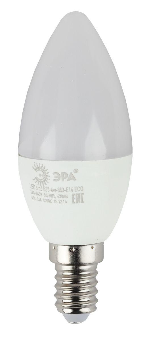 Лампа светодиодная ЭРА, цоколь E14, 170-265V, 6W, 2700К5055945536539Светодиодная лампа ЭРА является самым перспективным источником света. Основным преимуществом данного источника света является длительный срок службы и очень низкое энергопотребление, так, например, по сравнению с обычной лампой накаливания светодиодная лампа служит в среднем в 50 раз дольше и потребляет в 10-15 раз меньше электроэнергии. При этом светодиодная лампа практически не подвержена механическому воздействию из-за прочной конструкции и позволяет получить любой цвет светового потока, что, несомненно, расширяет возможности применения и позволяет создавать новые решения в области освещения.Особенности серии Eco:Предназначена для обычного потребителяЦена ниже, чем цена компактной люминесцентной лампыСветовая отдача источников света - 70-80 лм/ВтСрок службы составляет 25000 часовГарантия - 1 год. Работа в цепи с выключателем с подсветкой не рекомендована.