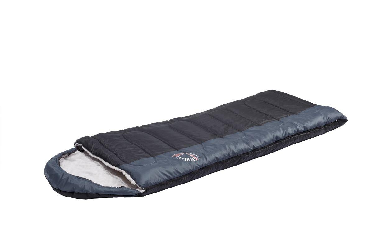 Спальный мешок Indiana Camper, правая молния, цвет: серый, черный, 195 х 35 х 90 см360700039Просторный спальник-одеяло Camper с капюшоном-подголовником с правой молнией пригодится в походе или путешествии. Спальник выпускается как с левой, так и с правой молнией. Благодаря этому два спальника этой модели можно состегивать друг с другом. Увеличенные размеры спального мешка и его температурные режимы обеспечат вам комфортный отдых во время вашего пребывания на природе.Размер: 195 х 35 х 90 см.