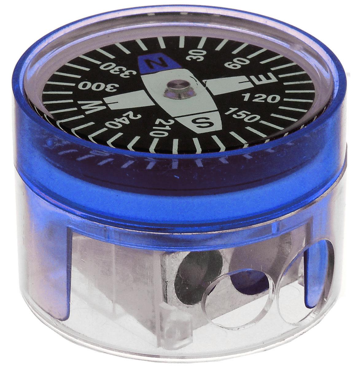 Brunnen Точилка двойная Компас цвет синий29836\255718\BCD_синийДвойная точилка Brunnen Компас выполнена из прочного пластика.В точилке имеются два отверстия для карандашей различного диаметра, подходит для разных видов карандашей. При повороте пластикового контейнера, отверстия закрываются. Полупрозрачный контейнер для сбора стружки позволяет визуально контролировать уровень заполнения и вовремя производить очистку. В крышку контейнера встроен небольшой компас.