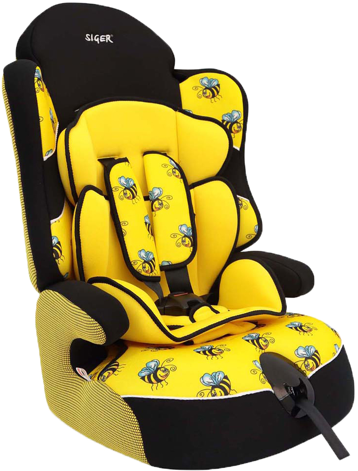 Siger Art Автокресло Драйв Пчелка от 9 до 36 кгКРЕS0233Автокресло Siger Art Драйв. Пчелка относится к возрастной группе 1/2/3, для детей весом от 9 кг до 36 кг.Мягкий подголовник, специальная ортопедическая спинка и накладки внутренних ремней повышают уровень комфорта во время поездки. Чехол изготовлен из качественного износостойкого и гипоаллергенного материала.Покатый передний край сиденья позволит избежать излишнего давления на ноги ребенка. Усовершенствованная форма спинки обеспечивает правильное прохождение ремня безопасности.Кресло Siger Art Драйв трансформируется под три возрастные группы: от 1 года до 3-4 лет (полная комплектация), от 3 до 6-7 лет (снимаются ремни и внутренние накладки), от 7 до 12 лет (бустер).Детские удерживающие устройства Siger разработаны и изготовлены в России с учетом анатомии российских детей. Двухпозиционная регулировка внутренних ремней позволяет адаптировать кресло Siger Art Драйв под зимнюю и летнюю одежду ребенка. Автокресло успешно прошло все необходимые тесты и имеет сертификат соответствия техническому регламенту РФ и таможенному союзу.