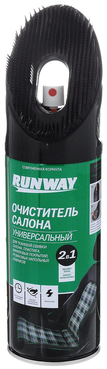 Очиститель салона универсальный Runway, 2 в 1, 450 млRW6145Универсальный очиститель салона Runway применяется для ткани, обивки сидений и дверей, ремней безопасности, виниловых покрытий, панелей приборов, молдингов и даже резиновых и тканевых напольных ковриков. Благодаря компоненту - активная пена - легко удаляет даже застарелую грязь с обивки салона и пластиковых деталей дверей, потолка и люка. Придает материалам антистатические свойства.Не оказывает вредного воздействия на окружающую среду, не содержит растворителей.Товар сертифицирован.