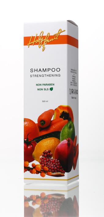 Holy Fruit Шампунь укрепляющий Strengthening Shampoo, 300 мл7290008564274Укрепляющий шампунь активизирует обменные процессы в коже головы, насыщает микроэлементами и укрепляет корни волос, питает волосы по всей длине. Жирные кислоты кокосового масла эффективно очищают от загрязнений, оказывая мягкое воздействие на защитный барьер кожи. Входящая в состав шампуня морская соль оказывает антибактериальное действие, стимулируют процессы в луковицах волос. Масло розмарина возвращает волосам блеск, эластичность и шелковистость. Гель алоэ вера увлажняет и оздоравливает кожу головы. Пантенол защищает волосы от негативного влияния окружающей среды.