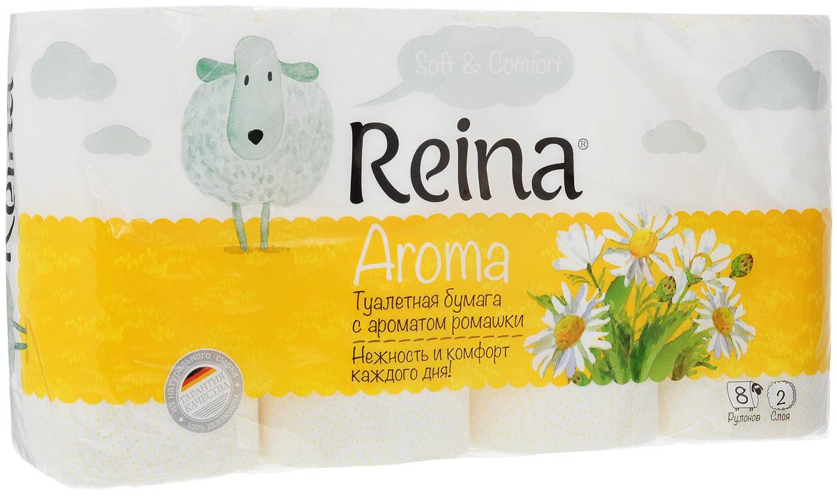 Бумага туалетная Reina Aroma Ромашка, ароматизированная, двухслойная, 8 рулонов77Ароматизированная туалетная бумага Reina Aroma Персик выполнена из натуральной целлюлозы и обладаетприятным ароматом ромашки. Двухслойная туалетная бумага мягкая, нежная, но в тоже время прочная. Листыимеютрисунок с перфорацией.Длина рулона: 18 м. Количество листов: 156 шт. Количество слоев: 2. Размер листа: 11,5 х 9,4 см. Состав: 100% целлюлоза.